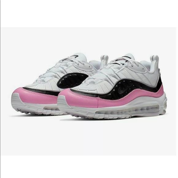 Nike Air Max 98 SE Size 9 Womens White Black China Rose Pink Running Shoes